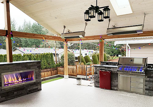 Patio Display With Grill and Fireplace