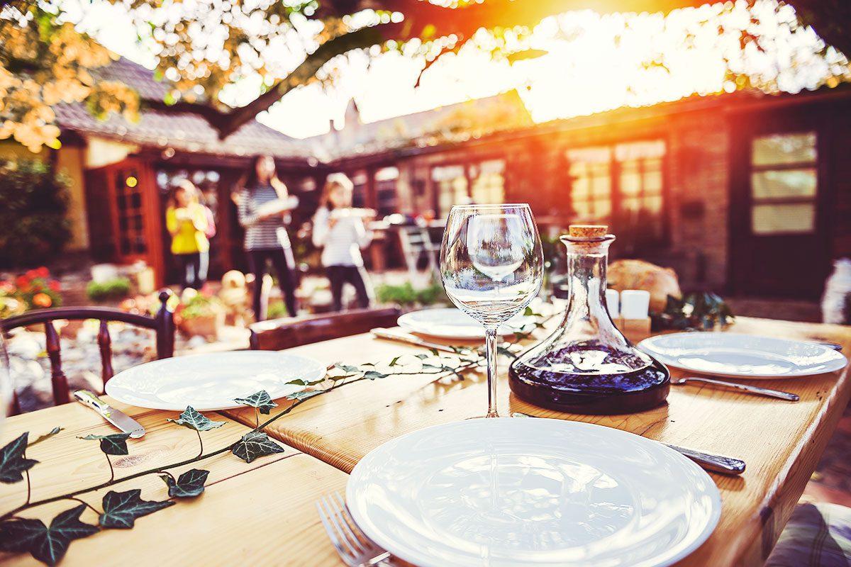 Family eating outside autumn